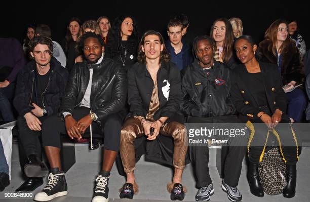Jack Brett Anderson guest Hector Bellerin Shamel Kendrick and guest attend the Bobby Abley show during London Fashion Week Men's January 2018 at BFC...