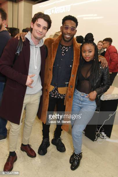 Jack Brett Anderson Tinie Tempah and Tinea Taylor attend the What We Wear x Axel Arigato pop up shop launch party on February 28 2018 in London...