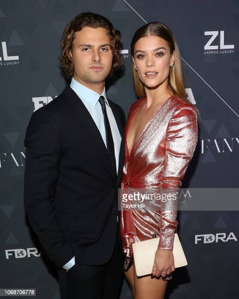 Jack BrinkleyCook and Nina Agdal attend the 2018 Footwear News Achievement Awards at IAC Headquarters on December 4 2018 in New York City