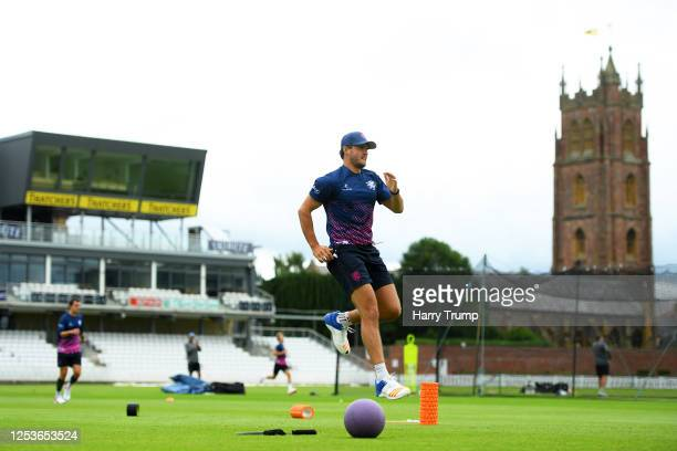 Jack Brooks of Somerset CCC warms up during a Somerset CCC Training Session at The Cooper Associates County Ground on July 01 2020 in Taunton England