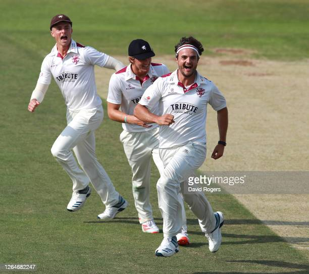 Jack Brooks of Somerset celebrates after running out Ricardo Vasconcelos with a direct hit during Day 1 of the Bob Willis Trophy match between...
