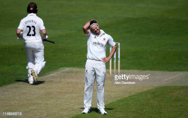Jack Brooks of Somerset show dejection during Day One of the Specsavers County Championship match between Somerset and Surrey at The Cooper...