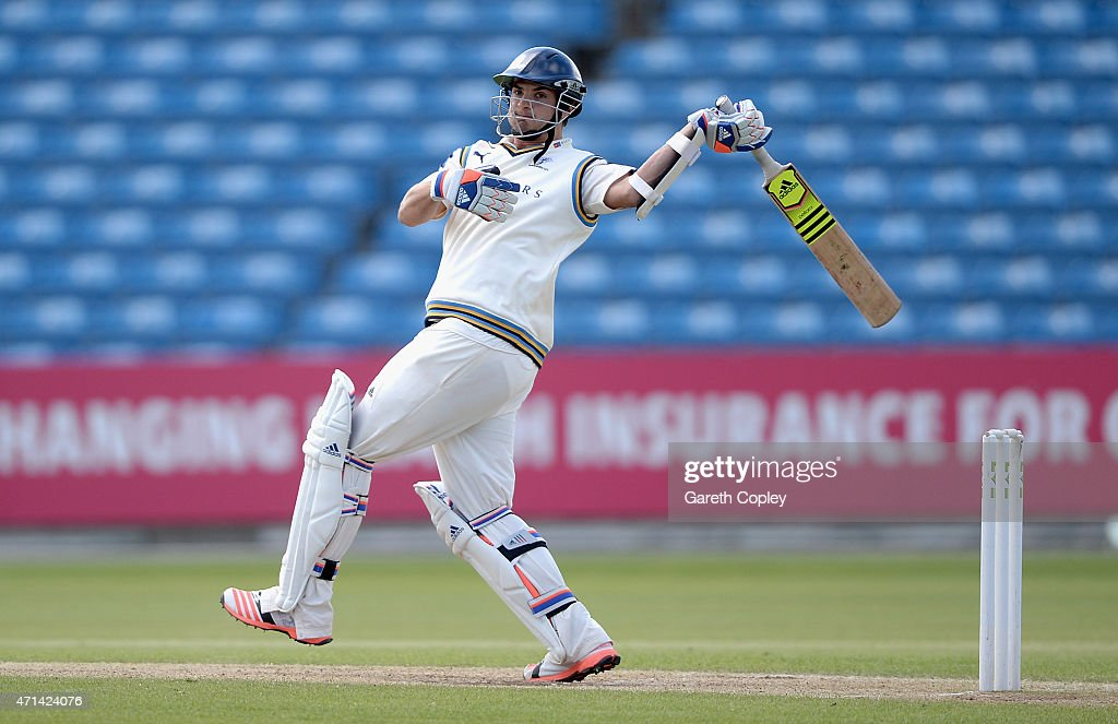 Jack Brooks of Yorkshire bats during day three of the LV County Championship Division One match between Yorkshire and Warwickshire at Headingley on April 28, 2015 in Leeds, England.