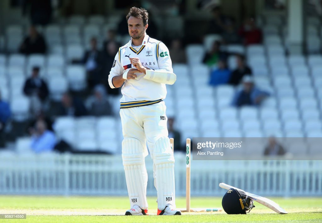 Jack Brooks of Yorkshire reacts after being given out, handing the victory to Surrey during day four of the Specsavers County Championship Division One match between Surrey and Yorkshire at The Kia Oval on May 14, 2018 in London, England.