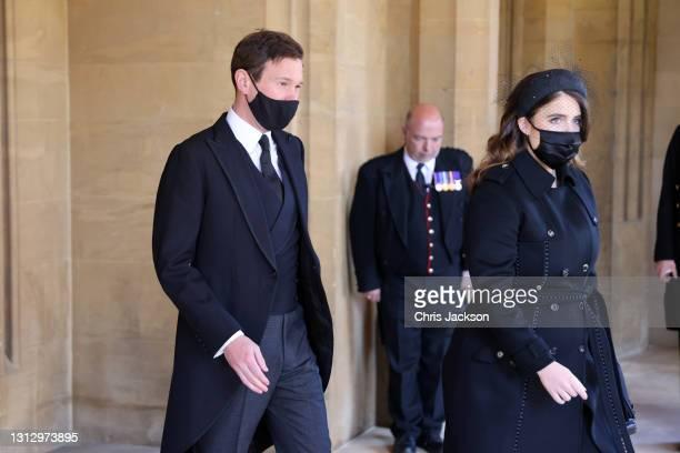 Jack Brooksbank and Princess Eugenie arrive for the funeral of Prince Philip, Duke of Edinburgh at Windsor Castle on April 17, 2021 in Windsor,...