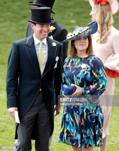 Jack Brooksbank and Princess Eugenie attend day 4 of Royal Ascot at Ascot Racecourse on June 23 2017 in Ascot England