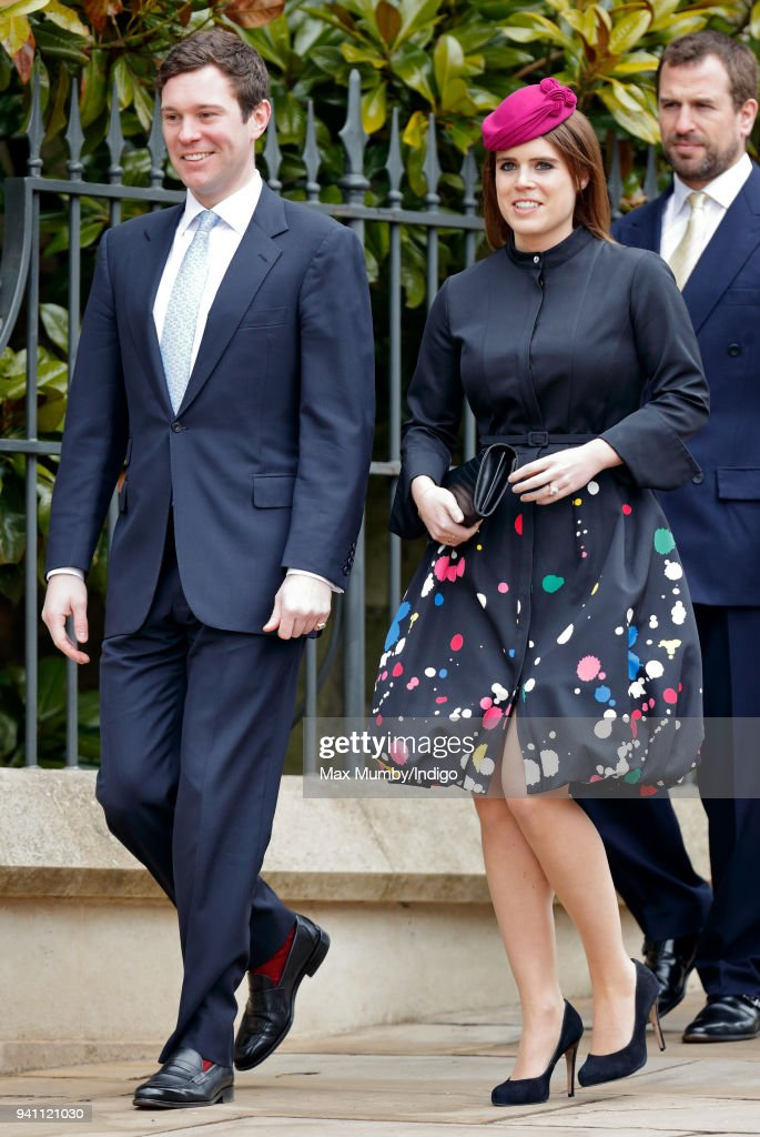 Jack Brooksbank and Princess Eugenie attend the traditional Easter Sunday church service at St George's Chapel, Windsor Castle on April 1, 2018 in Windsor, England.