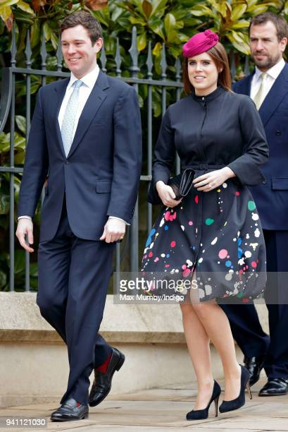 Jack Brooksbank and Princess Eugenie attend the traditional Easter Sunday church service at St George's Chapel Windsor Castle on April 1 2018 in...
