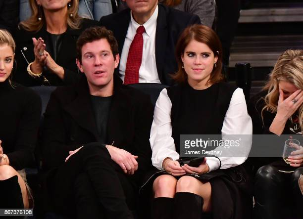 Jack Brooksbank and Princess Eugenie of York attend the Brooklyn Nets Vs New York Knicks game at Madison Square Garden on October 27 2017 in New York...