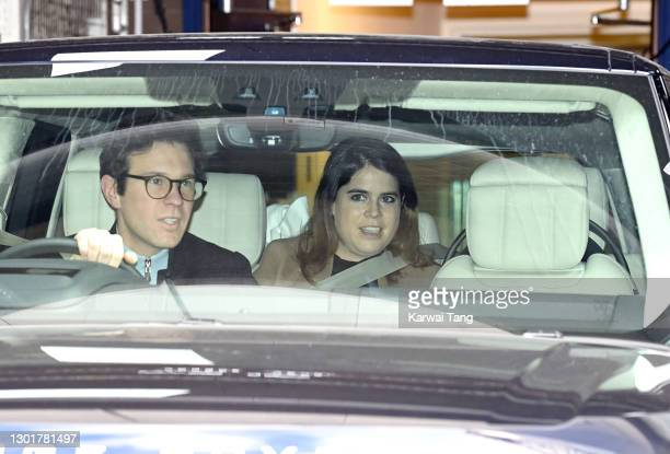 Jack Brooksbank and Princess Eugenie of York depart the Portland Hospital for Women on February 12, 2021 in London, United Kingdom. Princess Eugenie...