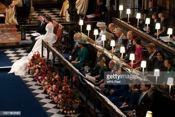 Jack Brooksbank and Princess Eugenie of York sit near the royal family Queen Elizabeth II Prince Philip Duke of Edinburgh Prince Charles Prince of...