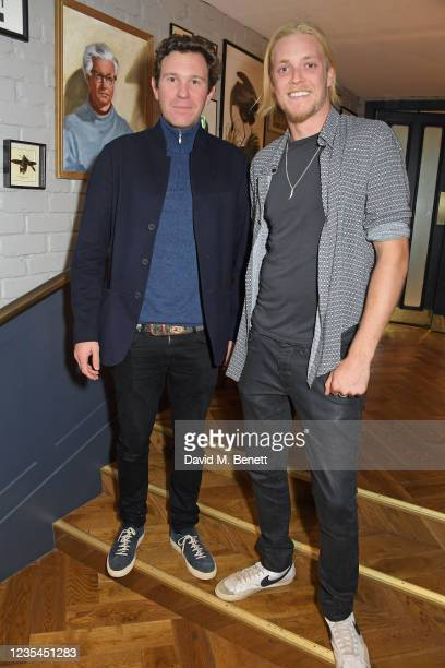 Jack Brooksbank and Rufus Taylor attend the Casamigos VIP launch of Percy's Kensington on September 23, 2021 in London, England.