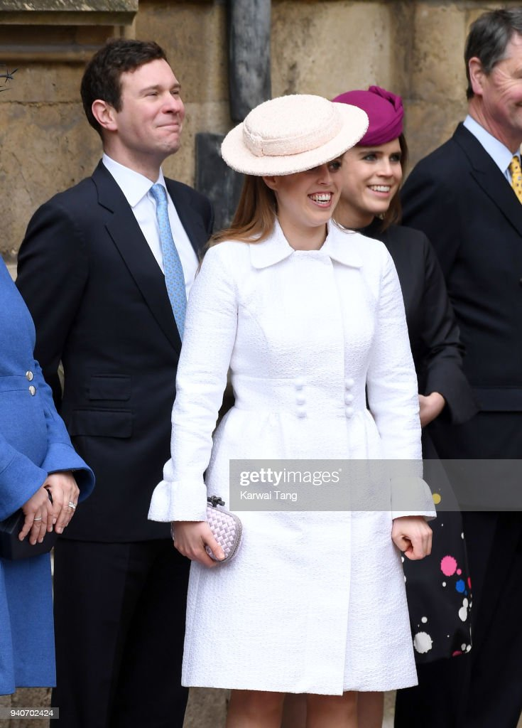 Jack Brooksbank, Princess Beatrice and Princess Eugenie attend an Easter Service at St George's Chapel on April 1, 2018 in Windsor, England.