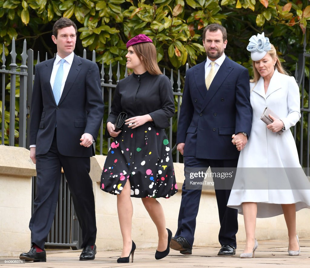 Jack Brooksbank, Princess Eugenie, Peter Phillips and Autumn Phillips attend an Easter Service at St George's Chapel on April 1, 2018 in Windsor, England.
