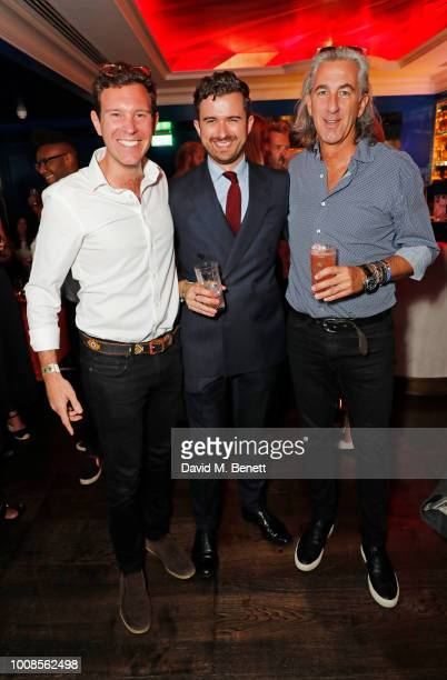 Jack Brooksbank Sean Coogan and Jay Swanborough attend Casamigos Tequila's 'Away for August' private dinner at Bagatelle on July 31 2018 in London...