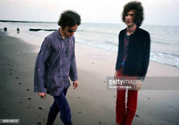 Jack Bruce and Eric Clapton of Cream are pictured upon a windswept beach 1967