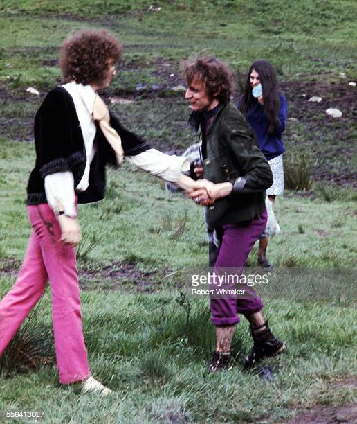 Jack Bruce and Eric Clapton of Cream pictured in Scotland during a shoot for the cover of their forthcoming album Disraeli Gears July 1968