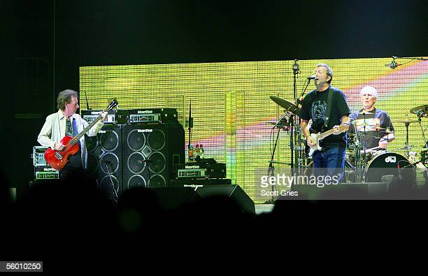 Jack Bruce Eric Clapton and Ginger Baker of Cream perform onstage at Madison Square Garden October 25 2005 in New York City