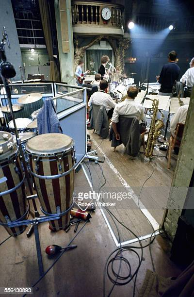Jack Bruce Ginger Baker and Eric Clapton of Cream pictured during a recording session at the BBC's Playhouse Theatre May 1967