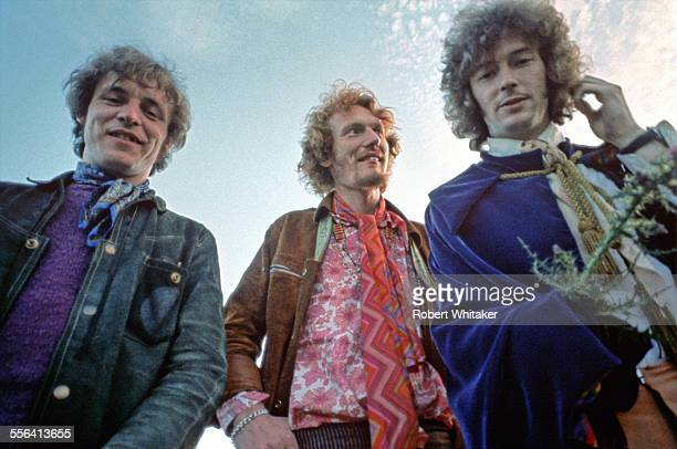 Jack Bruce, Ginger Baker and Eric Clapton of Cream pictured in Scotland during a shoot for the cover of their forthcoming album Disraeli Gears. July...