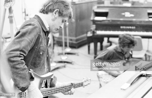 Jack Bruce of the rock band Cream records bass at the Strange Brew recording session at Atlantic Recording Studios on April 5 1967 in New York City...