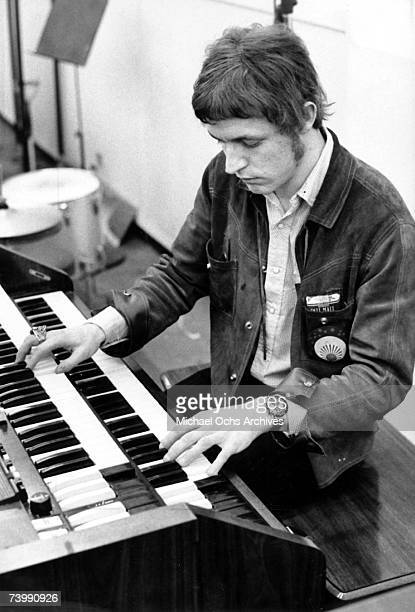 Jack Bruce of the rock band Cream records piano at the Strange Brew recording session at Atlantic Recording Studios on April 5 1967 in New York City...