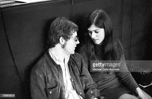 Jack Bruce of the rock band Cream relaxes for a moment with his wife while recording at Atlantic Recording Studios on April 5 1967 in New York City...