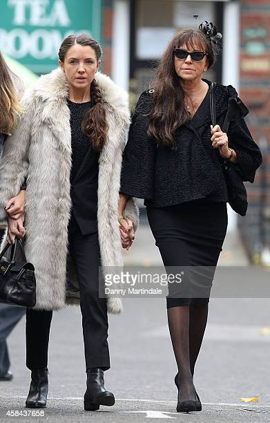 Jack Bruce wife Margrit Seyffer and daugters Natascha Bruce aka Aruba Red attend the funeral of Jack Bruce at Golders Green Crematorium on November 5...