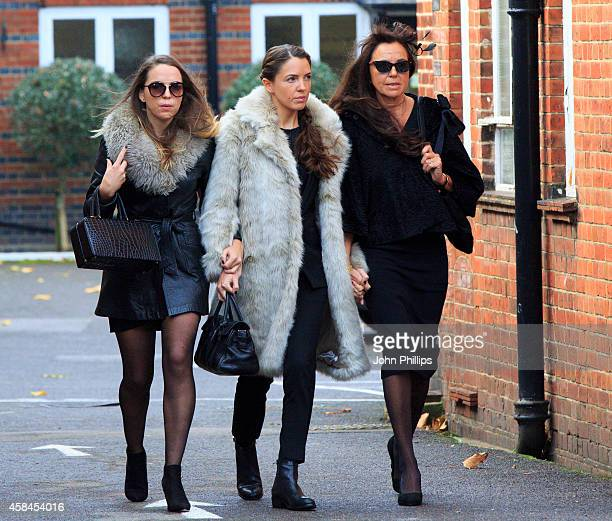 Jack Bruce's daughters Kyla Bruce Natascha Bruce and wife Margrit Seyffer attend the funeral of Jack Bruce at Golders Green Crematorium on November 5...