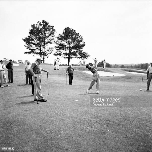 Jack Burke Jr tees off during the 1956 Masters Tournament at Augusta National Golf Club in April 1956 in Augusta Georgia