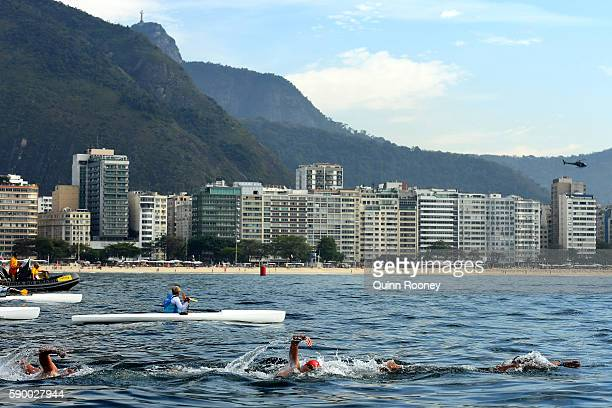 Jack Burnell of Great Britain competes in the Men's 10km Marathon Swim on Day 11 of the Rio 2016 Olympic Games at Fort Copacabana on August 16 2016...