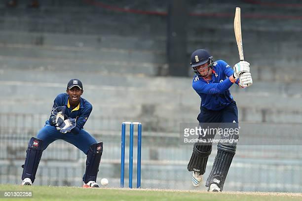 Jack Burnham of England hits the ball during the Under 19 International Triseries match between England U19 and Sri Lankas U19 at the R Premadasa...