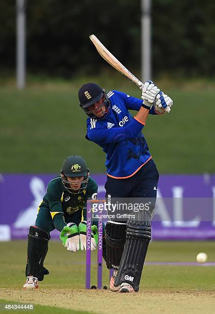Jack Burnham of England in action during the U19 One Day International match between England U19 and Australia U19 at The County Ground on August 17...