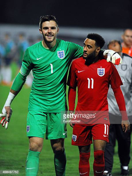 Jack Butland and Nathan Redmond of England after the UEFA U21 Championship Playoff Second Leg match between Croatia and England at the Stadion Hnk...