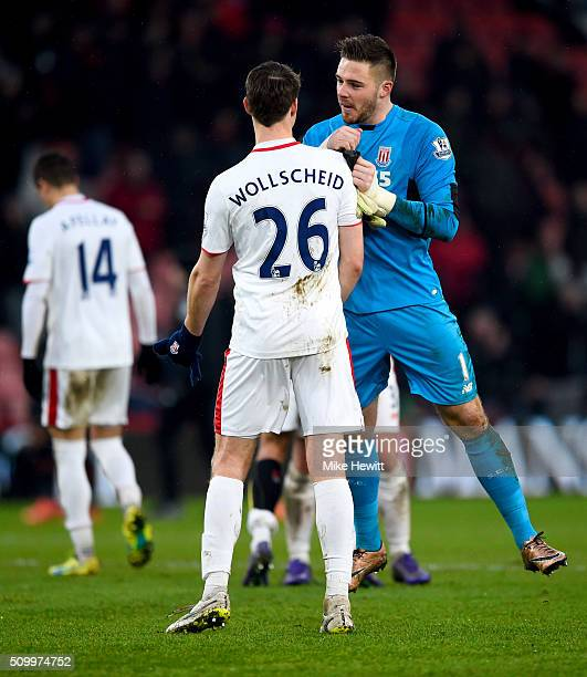 Jack Butland and Philipp Wollscheid of Stoke City celebrate their 31 win the Barclays Premier League match between AFC Bournemouth and Stoke City at...