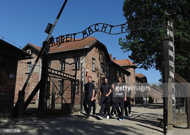 Jack Butland Andy Carroll Wayne Rooney and Joe Hart during a visit by an England Football Association delegation to the AuschwitzBirkenau memorial...