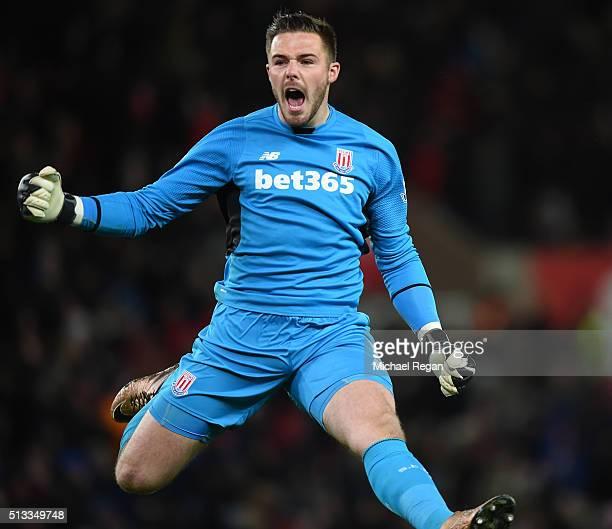 Jack Butland goalkeeper of Stoke City celebrates the opening goal scored by Xherdan Shaqiri during the Barclays Premier League match between Stoke...