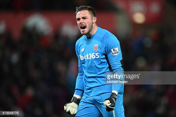 Jack Butland goalkeeper of Stoke City celebrates the opening goal scored by Xherdan Shaqiri during the Barclays Premier League match between Stoke...
