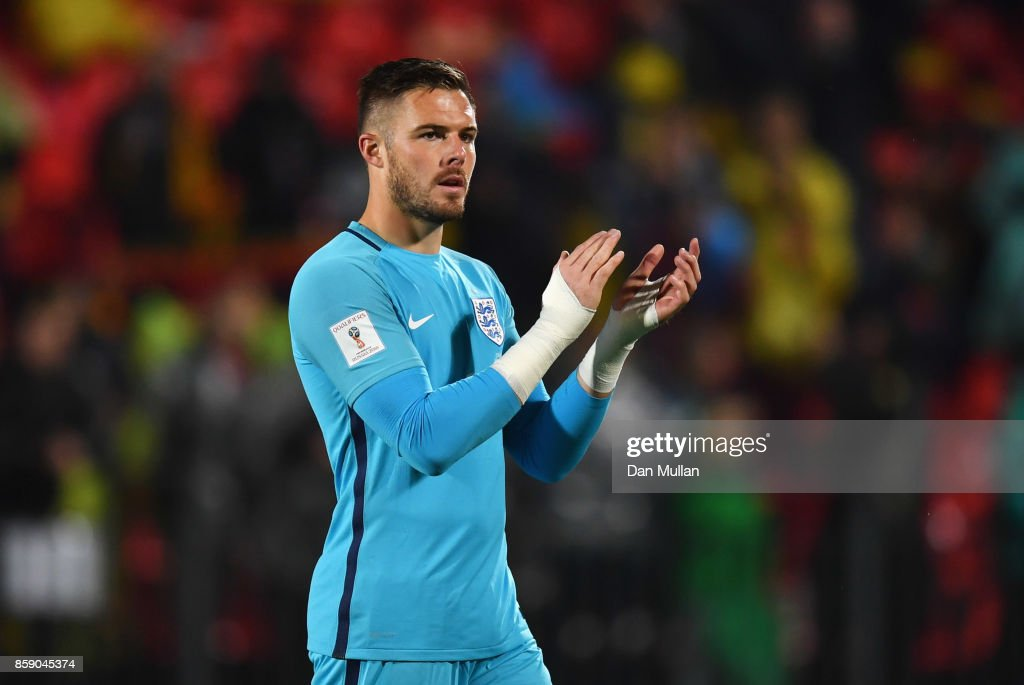 Jack Butland of England applauds the crowd after the FIFA 2018 World Cup Group F Qualifier between Lithuania and England at LFF Stadium on October 8, 2017 in Vilnius, Lithuania.
