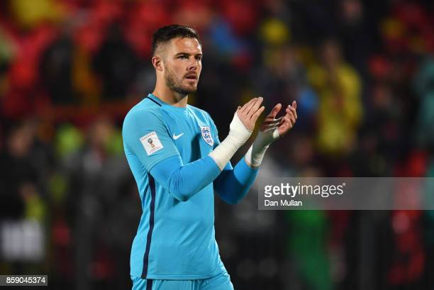 Jack Butland of England applauds the crowd after the FIFA 2018 World Cup Group F Qualifier between Lithuania and England at LFF Stadium on October 8...