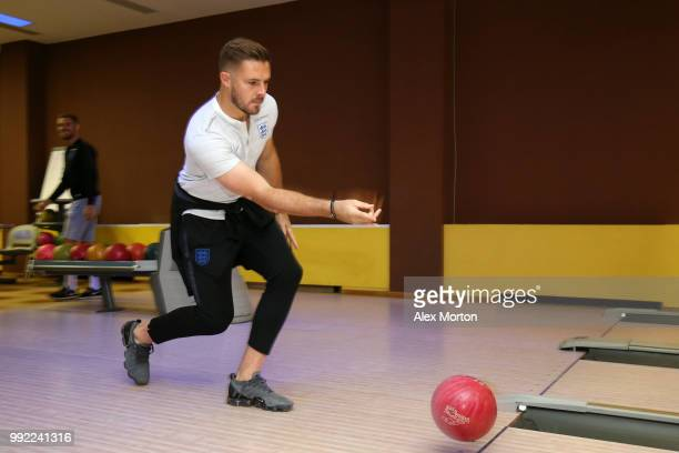 Jack Butland of England bowls during an England media access at Repino Cronwell Park Hotel on July 5 2018 in Saint Petersburg Russia