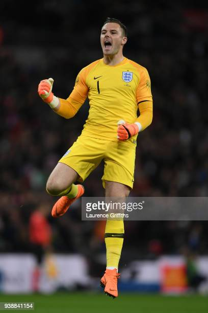 Jack Butland of England celebrates after his sides first goal during the International friendly between England and Italy at Wembley Stadium on March...