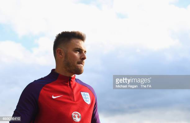 Jack Butland of England looks on during England media access at St George's Park on June 6, 2017 in Burton-upon-Trent, England.