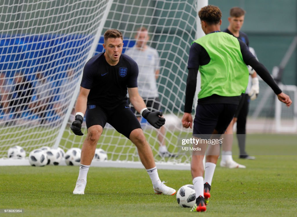 Jack Butland (L) of England national team during an England national team training session ahead of the FIFA World Cup 2018 in Russia at Stadium Spartak Zelenogorsk on June 13, 2018 in Saint Petersburg, Russia.