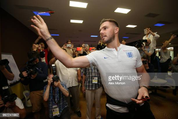 Jack Butland of England plays darts during an England media access at Repino Cronwell Park Hotel on July 5 2018 in Saint Petersburg Russia