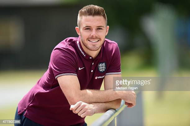 Jack Butland of England poses during a visit to Heyrovskeho School on June 16 2015 in Olomouc Czech Republic