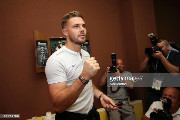Jack Butland of England reacts during an England media access at Repino Cronwell Park Hotel on July 5 2018 in Saint Petersburg Russia