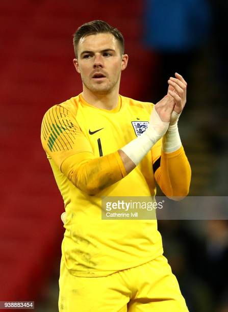 Jack Butland of England shows appreciation to the fans after the International friendly between England and Italy at Wembley Stadium on March 27 2018...