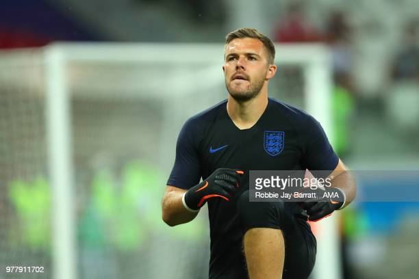 Jack Butland of England warms up prior to the 2018 FIFA World Cup Russia group G match between Tunisia and England at Volgograd Arena on June 18 2018...