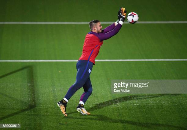 Jack Butland of England warms up prior to the FIFA 2018 World Cup Group F Qualifier between Lithuania and England at LFF Stadium on October 8 2017 in...